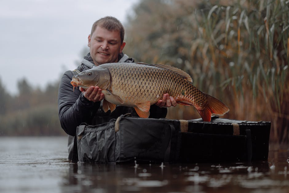 A man holding a fish in the water